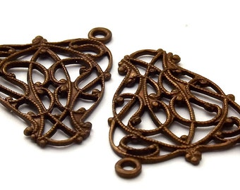 Vintage Patina Brass Scroll Filigree Connector VP014