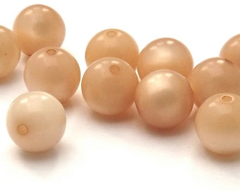 Vintage Lucite Semi Matte Peach Moon Glow Beads