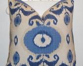 Decorative Pillow Cover - Throw Pillow - Accent Pillow - Blue - Natural - IKAT