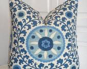 Beautiful Decorative Pillow Cover - Tribal Thread Azure - Throw Pillow - Accent Pillow - Suzani Pillow - Blue
