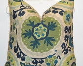 Beautiful Decorative Pillow Cover - 20x20 - Throw Pillow - Accent Pillow - Suzani Pillow - Blue - Green - Lime