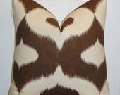 Decorative Pillow Cover - 20x20 - Throw Pillow - Accent Pillow - Chocolate Brown - IKAT Print