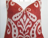 Decorative Pillow Cover - 20 x 20 or 18 x 18 - IKAT - Throw Pillow - Accent Pillow - Red - Natural - Toss Pillow