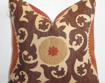 Beautiful Decorative Pillow Cover - Suzani - Brown - Dark Red - Rust - Fahri in Clove