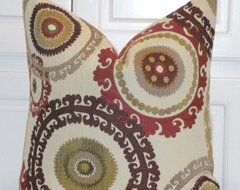 Decorative Pillow Cover - Accent Pillow - Throw Pillow - Teak - Geometric - Retro - Red - Brown - Suzani