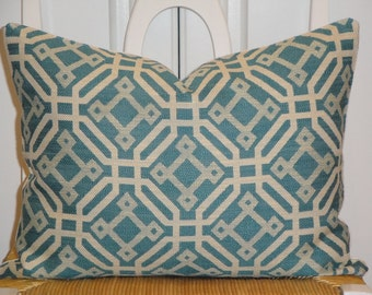 SET OF TWO - Decorative Pillow Cover - Accent Pillow - Throw Pillow - Fretwork - Geometric - Turquoise/Blue