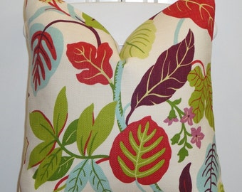 DOUBLE SIDED - Decorative Pillow Cover - Red - Lime Green - Lavender - Aqua Blue - Floral - Leaf