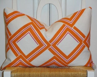Decorative Pillow Cover - Duralee - Accent Pillow - Throw Pillow - Orange/Tangerine - Magenta - Lumbar Pillow