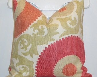 Decorative Pillow Cover - Suzani - Throw Pillow - Accent Pillow - Hibiscus color - Coral - Fuschia - Soft Green