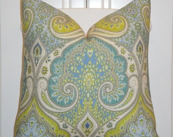 KRAVET - Decorative Pillow Cover - 18x18,  20 x 20 Or Lumbar - Aqua - Lime Green - Light Blue - Paisley - Ikat