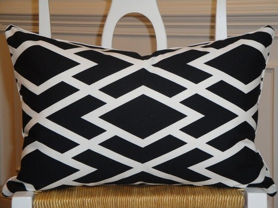 Decorative Pillow Cover 18 x 12 Inch - Designer Fabric - Accent Pillow - Throw Pillow - Black and White