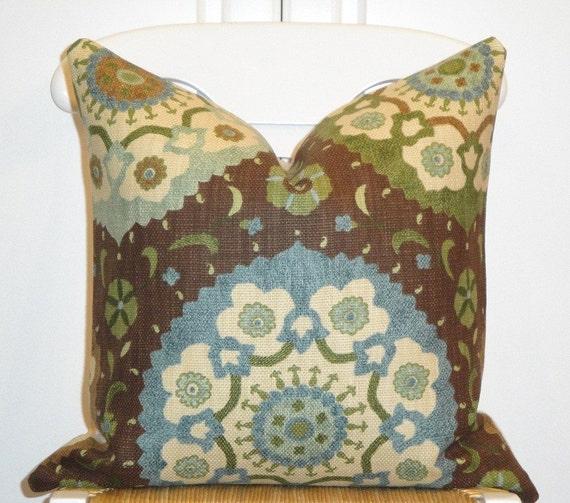 Beautiful Decorative Pillow Cover 18 x 18 Inch - Designer Fabric - Accent Pillow - Throw Pillow - Blue - Tan - Green - Brown