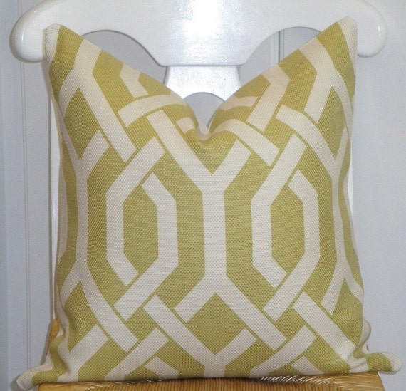 RESERVED - Decorative Pillow Cover 18x18 INCH - Designer Fabric - Gatework Pattern - Throw Pillow - Accent Pillow - Chartreuse and Ivory