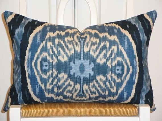 Decorative Pillow Cover 12x18 INCH - IKAT Pattern - Throw Pillow - Accent Pillow - Blue Denim  - Lumbar Pillow
