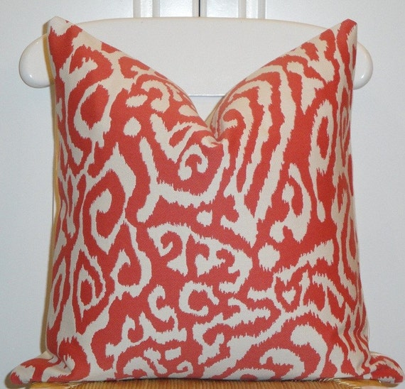BOTH SIDES - Beautiful Decorative Pillow Cover - 18 X 18 - Animal Print - Throw Pillow - Accent Pillow - Persimmon