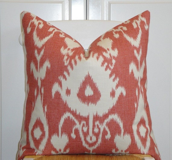 Kravet - Decorative Pillow Cover - 20 x 20 - IKAT Pattern - Throw Pillow - Accent Pillow - Coral/Red