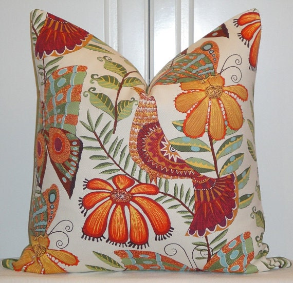 Decorative Pillow Cover - 20 x 20 OR 22 x 22 - Botanica - Bird - Butterfly - Flowers - Yellow - Orange - Green - Blue