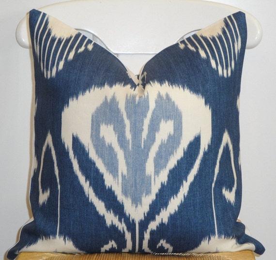 Decorative Pillow Cover - Kravet Bansuri In Iris - Throw Pillow - Accent Pillow - Navy - Light blue