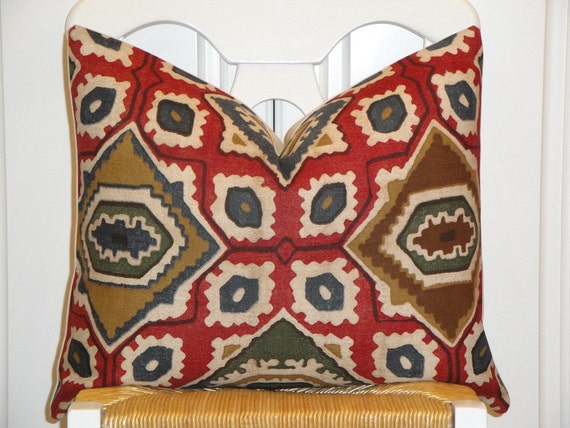 Decorative Pillow Cover - 16x20 - IKAT - Throw Pillow - Accent Pillow - Ruby Red - Green - Blue - Tan - Brown