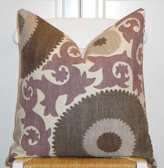 Beautiful Decorative Pillow Cover - 20x20 - Suzani - Throw Pillow - Accent Pillow - Purple - Gray - Walnut Brown - Grape