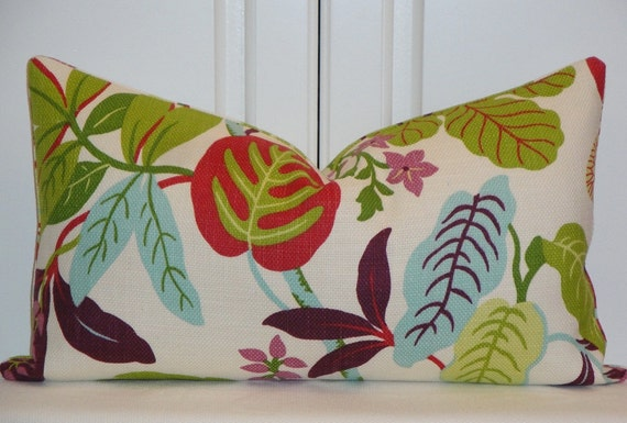 DOUBLE SIDED - Decorative Pillow Cover - Red - Lime Green - Lavender - Aqua Blue - Cushion