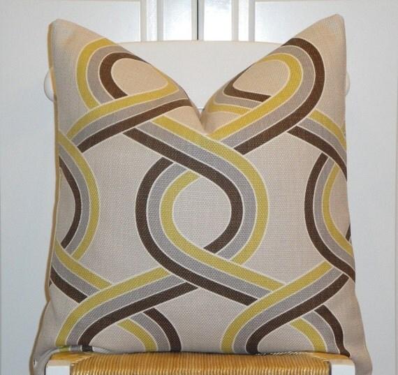 Decorative Pillow Cover  - 20 x 20 - Trellis - Geometric - Throw Pillow - Accent Pillow - Chartreuse - Gray - Brown