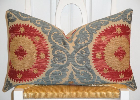 Decorative Pillow Cover - 12 x 20 - Suzani - Throw Pillow - Accent Pillow - Teal - Red - Light Brown