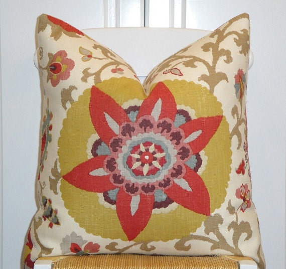 Beautiful Decorative Pillow Cover - 20 x 20 - Floral - Paprika - Red - Maize - Aqua - Taupe - PATTERN On BOTH SIDES