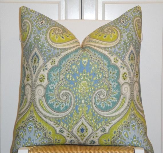 KRAVET - Decorative Pillow Cover - 18x18,  20 x 20 Or Lumbar - Aqua - Lime Green - Light Blue - Paisley - Ikat