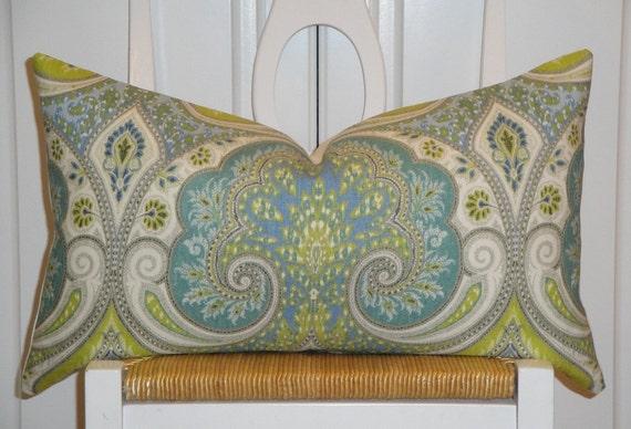 KRAVET Latika in Pool - Decorative Pillow Cover - Aqua - Lime Green - Light Blue - Paisley - Ikat