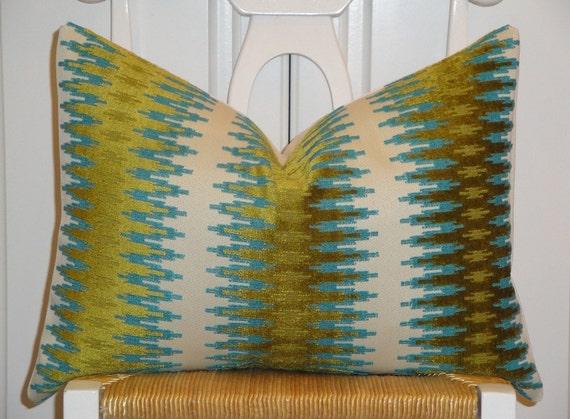 Decorative Pillow Cover - 14 x 20 - Accent Pillow - Throw Pillow - Lumbar Pillow - Teal/Blue - Olive Green