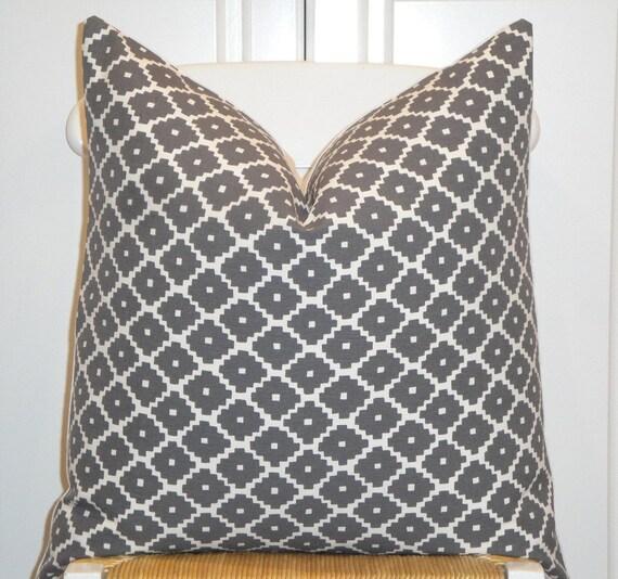 Schumacher - Ziggurat in Charcoal - 20 x 20 - Decorative Pillow Cover -  Accent Pillow - Throw Pillow - Geometric