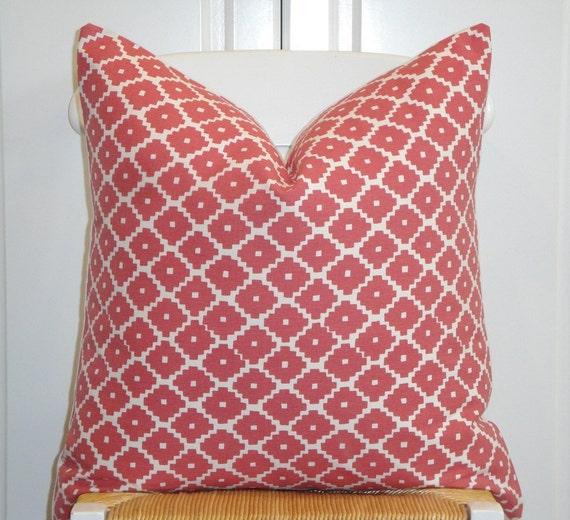 Schumacher - Ziggurat in Ruby  -  Decorative Pillow Cover -  Accent Pillow - Throw Pillow - Geometric - Lattice