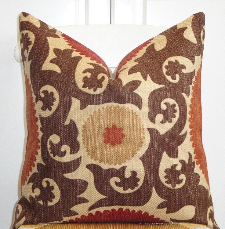 Brown Throw Pillows Etsy : Beautiful Decorative Pillow Cover Suzani Brown Dark Red