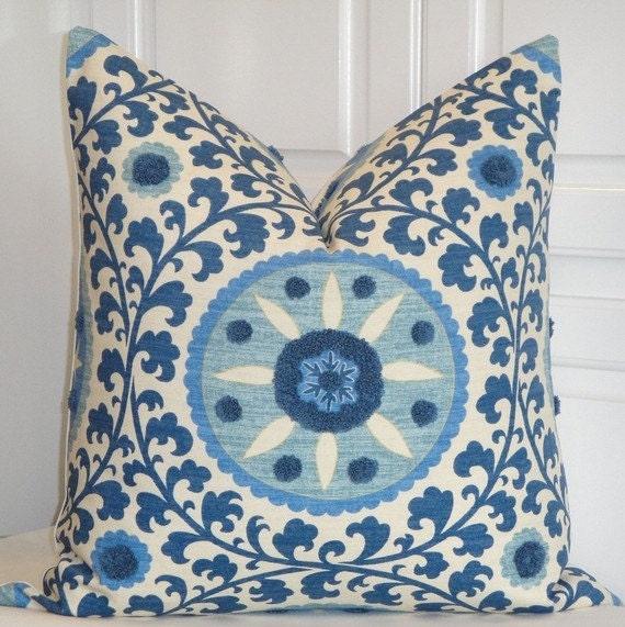 Beautiful Decorative Throw Pillows : Beautiful Decorative Pillow Cover 22x22 TRIBAL THREAD AZURE
