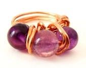 Copper Wire Ring with Purple Fluorite Code R12