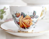 Vintage Golden Yellow Rose Teacup and Saucer Set by Colclough, England