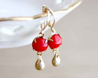 Red Glass and Gold Faceted Teardrop Earrings
