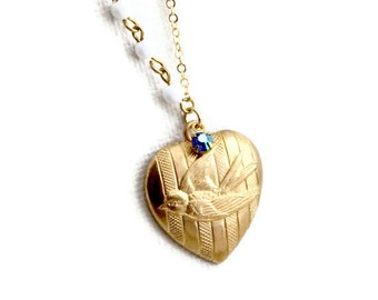 Birdie Love Necklace with Swarovski and Vintage Components