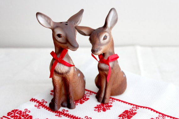Pair of Spotted Deer Salt and Pepper Shakers