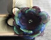 Peacock inspired organza flower