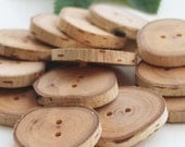 SET of 13  BIRCH wooden buttons HANDCRAFTED AND HANDMADE from a tree branch WOOD... OOAK... 2 holes... 1.15 inches