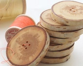 SET of  8 BIRCH wooden buttons HANDCRAFTED AND HANDMADE from a tree branch WOOD... OOAK...2 holes... 1.8 inch