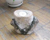 Natural Birch Candle Holder