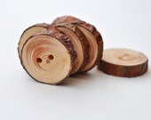 wood button - set of 6 Pine Wooden Buttons handcrafted and handmade from a tree branch wood... 2 holes... 15/16 inches