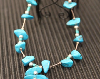 Beautiful Blue Turquoise and Silver Beads Necklace