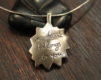 MY HEART BELONGS TO YOU - Vintage Sterling Silver Pendant Necklace