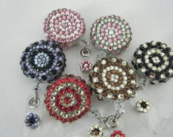 Swarovski Crystal Retractable Reel Badge Holder