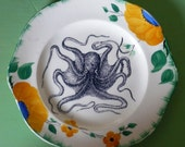 Octopus inky illustration wall art vintage side plate