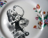 Alice and the Croquet Flamingo inky illustration wall art vintage dinner plate